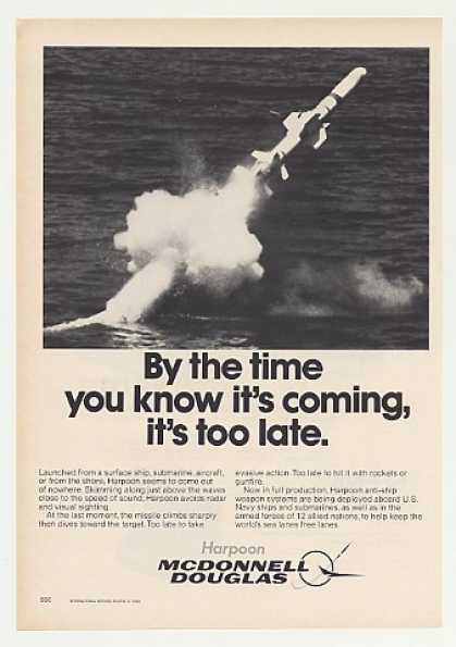 McDonnell Douglas Harpoon Missile Firing Photo (1980)