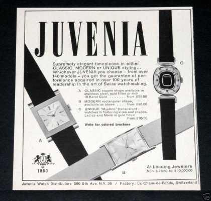 "Old , Juvenia, ""Elegant"" Watches (1964)"