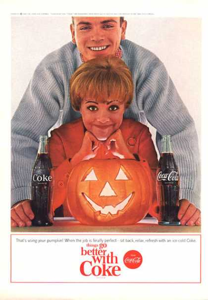 Coke Coca Cola Holloween Jack O Lantern Pumpkin (1964)