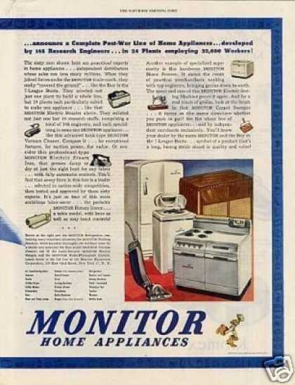Monitor Home Appliances Ad 2 Page (1945)