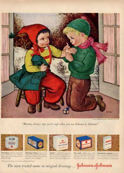 Johnson & Johnson Kids Playing Nurse Painting Ad T (1949)