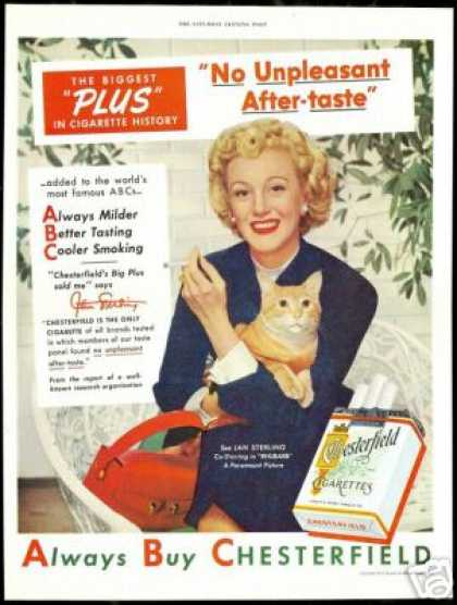 Jan Sterling Photo Chesterfield Cigarette Cat (1951)