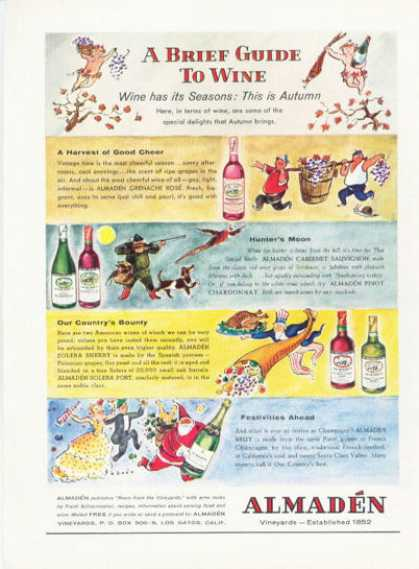 Almaden California Wine Ad a Brief Guide To Wine (1959)