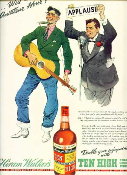 Hiram Walker's Ten High Bourbon Whiskey (1938)
