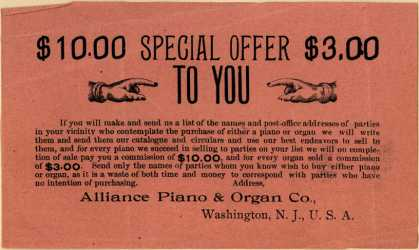 Alliance Piano and Organ Co.'s pianos and organs – Special Offer