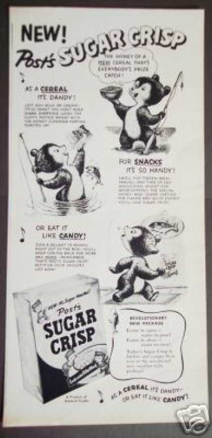 Sugar Crisp Bear Goes Fishing Cereal Cartoon (1951)