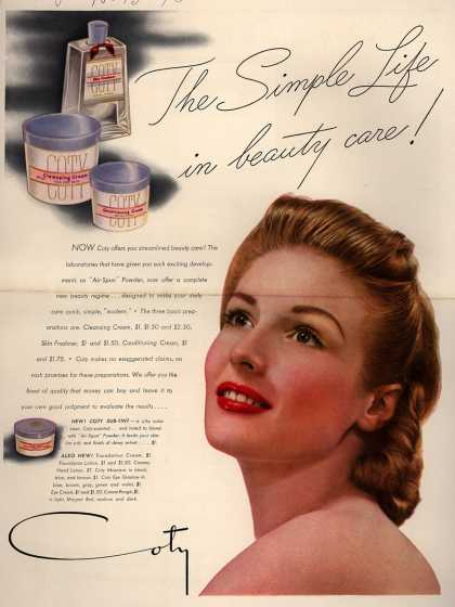 Coty's Cleansing Cream, Skin Freshner, Conditioning Cream – The Simple Life in beauty care (1940)