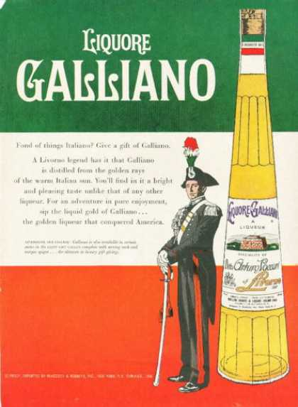 Italian Galliano Liqueur Bottle (1961)