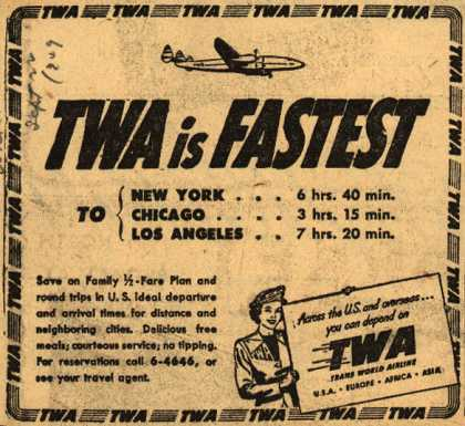 Trans World Airline's various destinations – TWA is Fastest (1949)