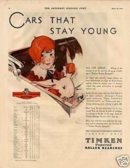 "Timken Roller Bearings Ad ""Cars That Stay Young... (1930)"