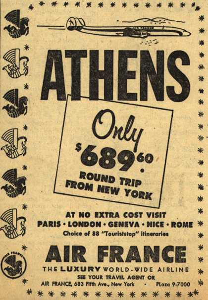 Air France's Athens – Athens Only $689.60 Round Trip From New York (1954)