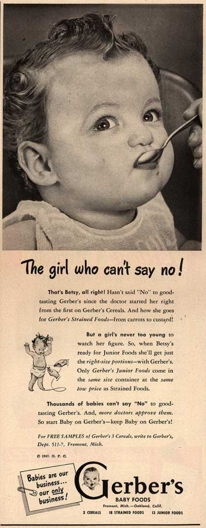 Gerber's Gerber Cereals, Strained Foods and Junior Foods – The Girl Who Can't Say No (1947)
