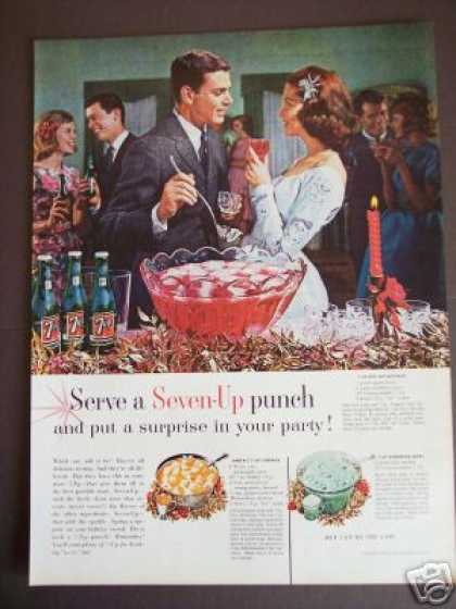 Original Soda Ad 7up Seven-up Punch Recipie (1962)
