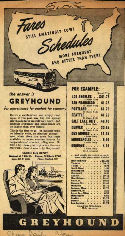 Greyhound – Fares Still Amazingly Low! Schedules More Frequent And Better Than Ever (1946)