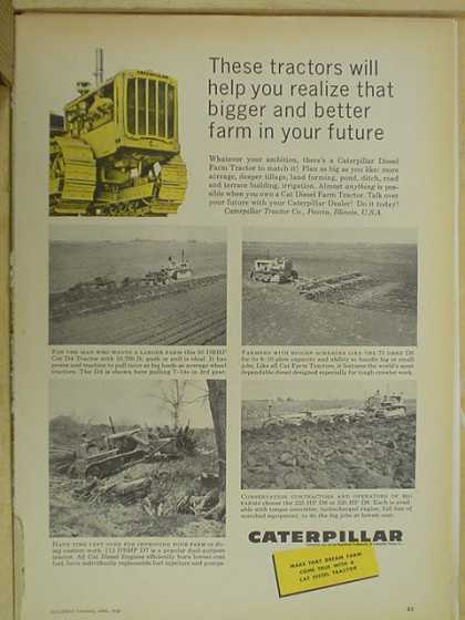 Caterpillar Tractors Bigger and Better farm in your future (1959)