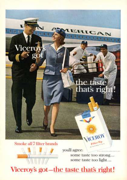 Viceroy Cigarette Pan Am Pilot Stewardess Plane (1963)