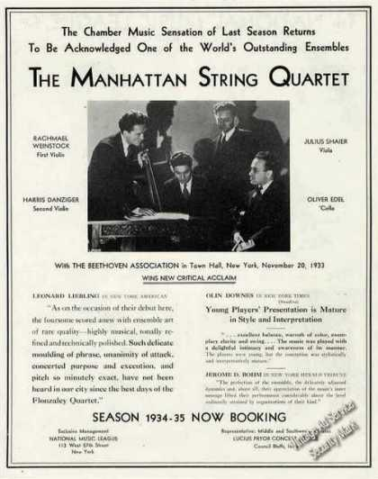 The Manhattan String Quartet Photo Music Trade (1934)