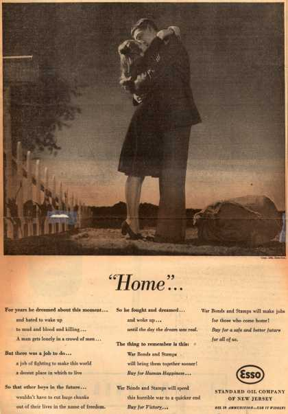 "Esso Standard Oil Company of New Jersey's War Bonds and Stamps – ""Home..."" (1943)"