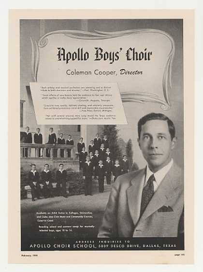 Coleman Cooper Apollo Boys Choir Photo (1948)