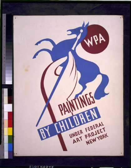 WPA paintings by children under Federal Art Project, New York. (1936)