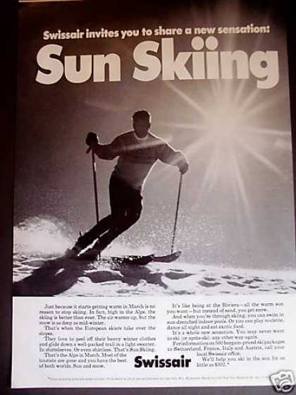 Sun Skiing the Alps Swissair Airline (1971)