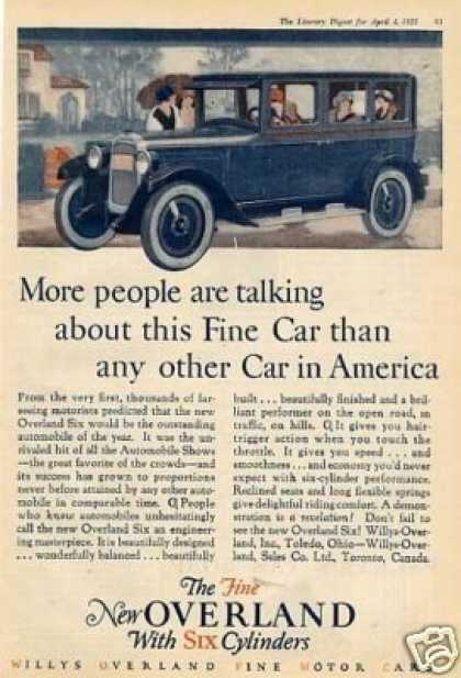 "Willys-overland Car Color Ad ""More People Are... (1925)"