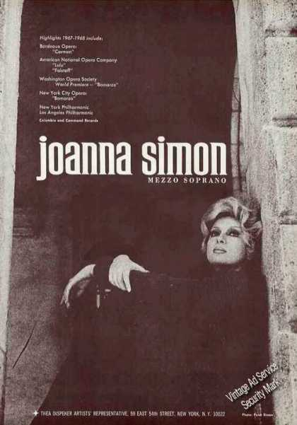 Joanna Simon Photo Opera Booking (1967)