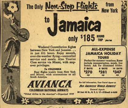 Avianca Colombian National Airway's Jamaica – The Only Non-Stop Flights from New York to Jamaica (1952)