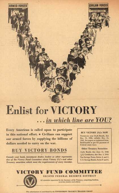 Victory Fund Committee's Victory Bonds – Enlist for VICTORY... in which line are You? (1942)