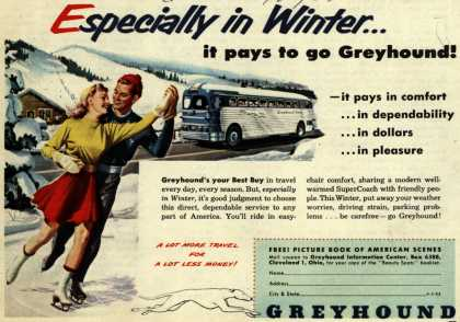 Greyhound's Winter Travel – Especially in Winter...it pays to go Greyhound (1952)