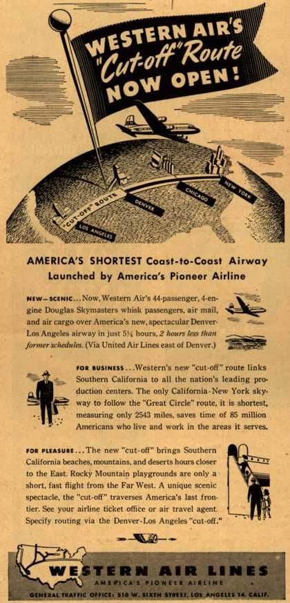 "Western Air Line's coast-to-coast ""short"" route – Western Air's ""Cut-off"" Route Now Open (1946)"