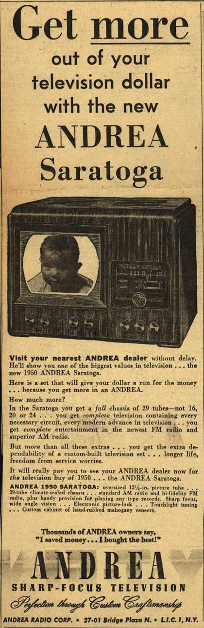 Andrea Radio Corporation's The Andrea Saratoga Television Combination – Get More Out of Your Television Dollar With the New Andrea Saratoga. (1950)