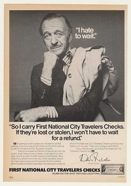David Niven First National City Traveler Checks (1976)
