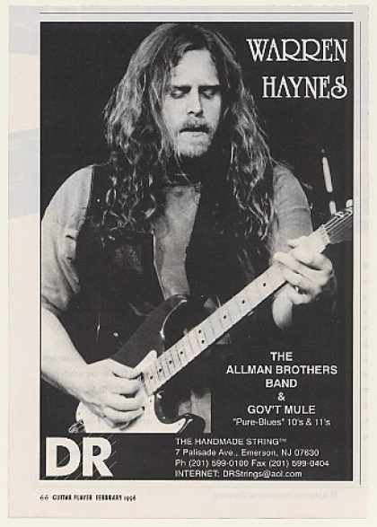 Warren Haynes DR Guitar Strings Photo (1996)