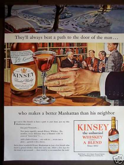Kinsey Whiskey Manhattan Recipe (1946)