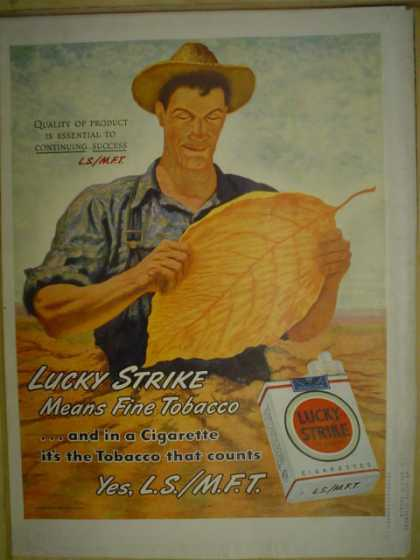 Lucky Strike tobacco Means fine tobacco (1946)