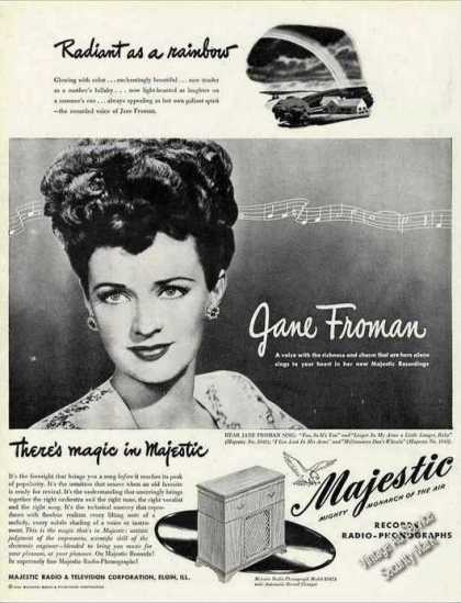 Jane Froman Photo Majestic Radio-phonograp (1946)