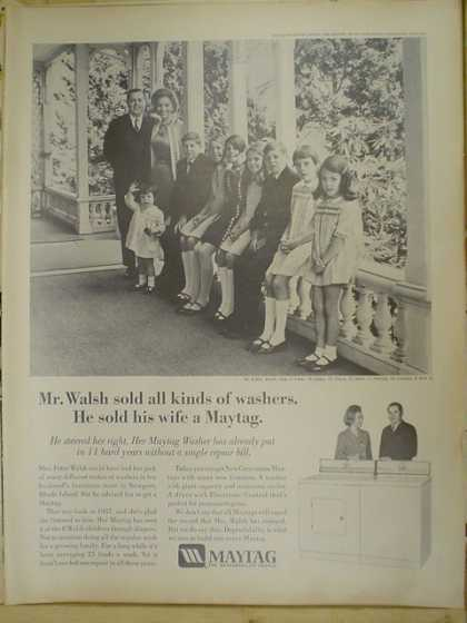 Maytag Washers and dryers. Mr Walsh sold his wife a Maytag (1969)
