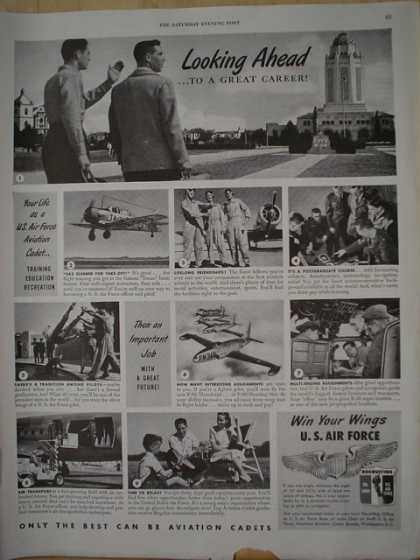 U.S. Airforce Looking ahead to a great career. Aviation cadets (1950)