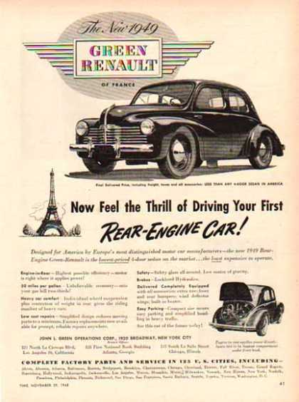 Renault of France Car – Green Rear-Engine (1949)