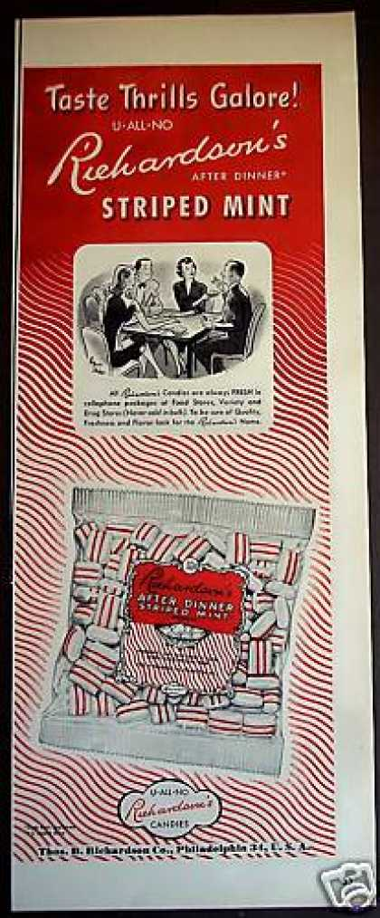 Richardson After Dinner Striped Mint Candy (1950)
