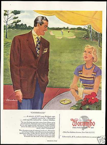 Worumbo Fabric Lebow Clothes Fashion Golf Green (1949)