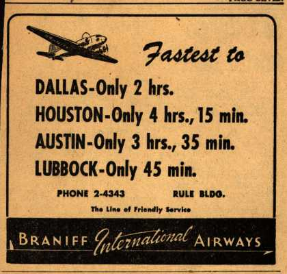 Braniff International Airway's Texas destinations – Fastest to... (1948)