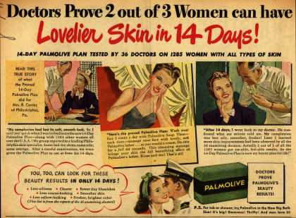 Palmolive Company's Palmolive Soap – Doctors Prove 2 out of 3 Women can have Lovelier Skin in 14 Days (1945)