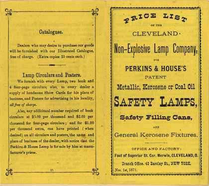 Cleveland Non-Explosive Lamp Company's Lamps – Price List of the Cleveland Non-Explosive Lamp Company (1871)