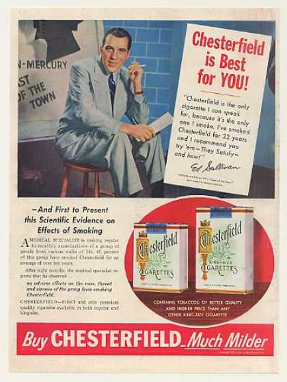 Ed Sullivan Chesterfield Cigarette Best For You (1953)
