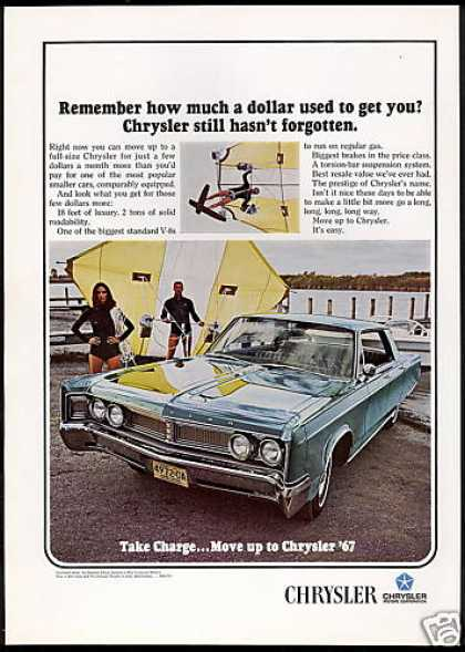 Chrysler 4dr Newport Car Hang Glider Photo (1967)
