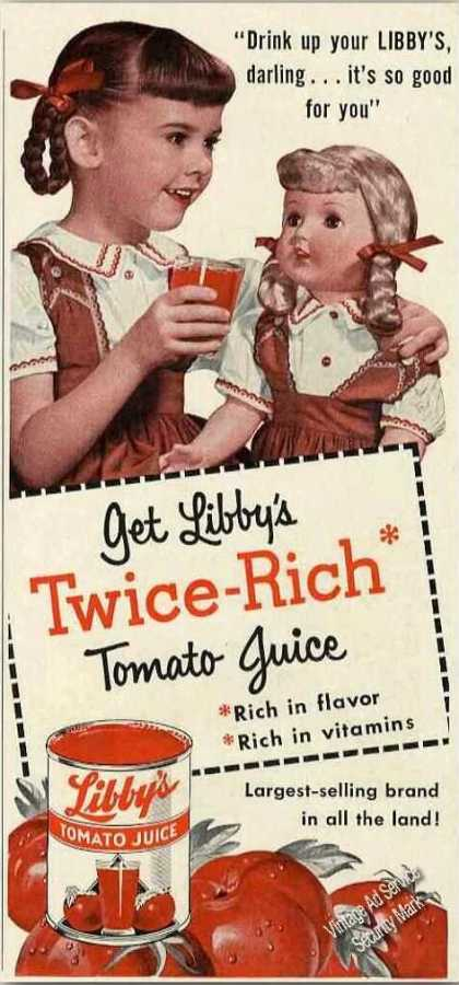 Young Girl With Doll Libby's Tomato Juice (1954)