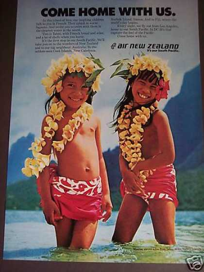 Cute Island Children In Flowers Air New Zealand (1976)