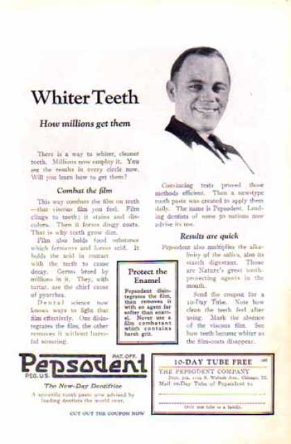 Pepsodent Toothpaste – Whiter Teeth (1924)